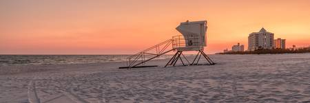 Lifeguard Station at Pensacola Sunset Pano