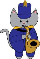 Cat Saxophone Marching Band Music Musician