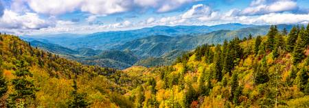 Fall Smoky Mountain Scenery Pano