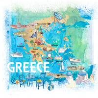 Greece Illustrated Travel Map with Landmarks and H