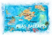 Balearic Islands Illustrated Travel Map with Major
