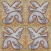 Loving birds. Painting in the style of mosaic.