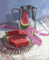 Watermelon and pink ribbon, with pitcher