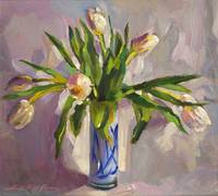 TULIPS IN BLUE GLASS