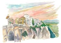 Ronda Cityview With Tajo Canyon Andalusia Spain