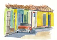 Cuban Street Scene With Cars