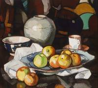 Samuel Peploe Still life apples and jar