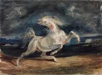 Eugene Delacroix - Horse Frightened by Lightning