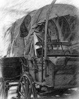 Black And White Covered Wagon Sketched
