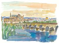 Cordoba Bridge and Mezquita in Andalusia Spain
