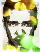 Digital Pop art portrait of celebrity Justin Timbe