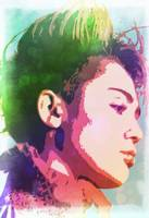 Digital Pop art portrait of celebrity Miley Cyrus