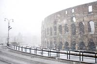 The Colosseum under heavy snow