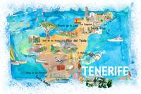 Tenerife Canarias Spain Illustrated Map with Landm