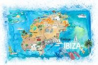 Ibiza Spain Illustrated Map with Landmarks and Hig
