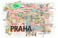 Prague Czech Republic Illustrated Map with Landmar