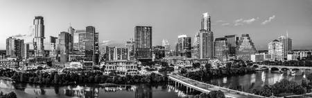 Austin Skyline From Above Pano BW 2