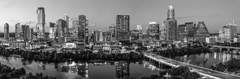 Austin Skyline From Above Pano BW