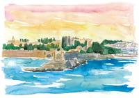 Rhodes Greece Waterfront with Grandmaster Palace