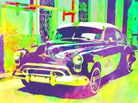 Abstract Watercolor - Havana Cuba Classic Car I Pu