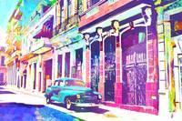 Abstract Watercolor - Havana Cuba Classic Car I