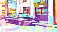 Abstract Watercolor - Havana Cuba Classic Car IIA