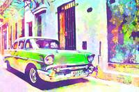 Abstract Watercolor - Havana Cuba Classic Cadillac