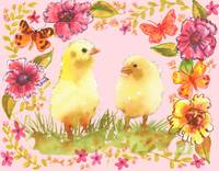 Cheerful Chicks, watercolor of chicken art