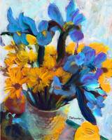 Blue Iris and Yellow Daisies