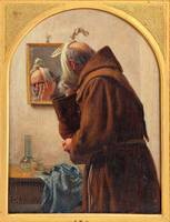 Carl Bloch~A Monk Looking in a Mirror