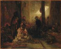 Alexandre-Gabriel Decamps~Interior of a Turkish Ca
