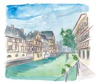 Strasbourg Petite France Water View and Old Houses