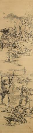 Bada Shanren~Landscape in the style of Wang Meng,