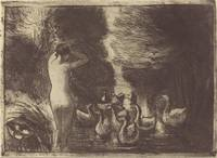 Camille Pissarro~Baigneuse aux oies (Bathers with