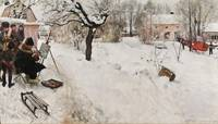 Carl Larsson~Open-Air Painter. Winter-Motif from Å