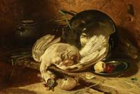 Charles Hoguet~Plucked turkey next to a boiler