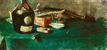 Christian Krohg~Still life with a D.O.M. bottle
