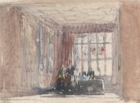 David Cox~A Tudor Room with Figures, Possibly Hard