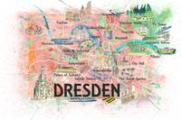 Dresden Saxony Germany Illustrated Map with Main R