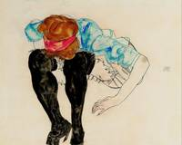 Egon Schiele~Blond Girl, Leaning forward with Blac