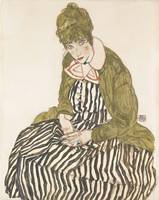 Egon Schiele~Edith with Striped Dress, Sitting