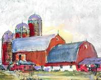 Country Landscape Red Barn and Silos