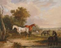 Francis Calcraft Turner~Horses Grazing a Grey Stal