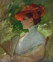 Frank Duveneck~Lady with a Red Hat (Portrait of Ma