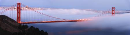 Golden Gate Bridge at dusk panorama