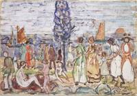 Maurice Prendergast~Beach with Blue Tree