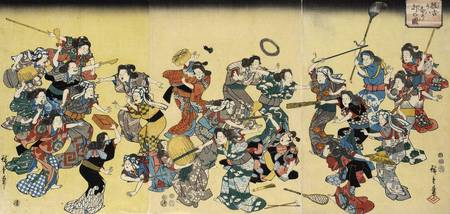 Hiroshige~A Large Group of Women Practice for Sudd