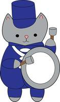 Bass Drum Cat Marching Band Blue White