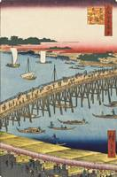 Hiroshige~Ryōgoku Bridge and the Great Riverbank