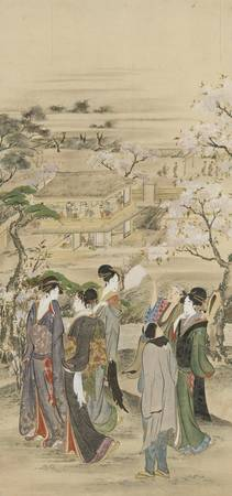Hokusai~Landscape parties of men and women looking